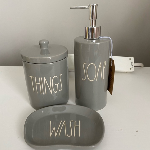 rae dunn 3 pcs bathroom set grey color